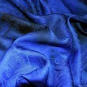 Платок синий пейсли восточный огурец  женский шейный шелковый жаккард