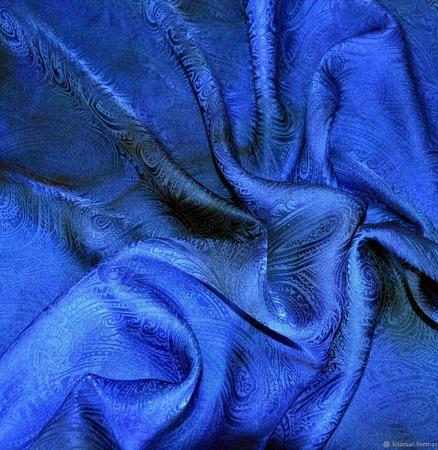 Платок синий пейсли восточный огурец  женский шейный шелковый жаккард ручной работы на заказ