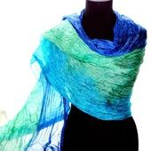 Шарф мятно голубой с синим, подарок женщине, купить шарф