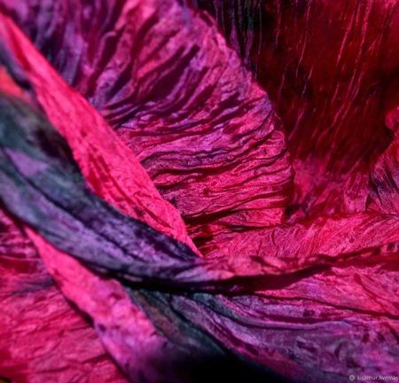 Шарф палантин шелковый малиновый с черным подарок для нее, жатый шарф ручной работы на заказ