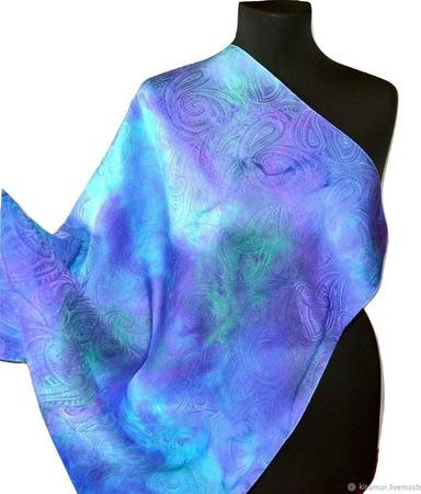 Платок пейсли восточный огурец  женский шейный шелковый жаккард ручной работы на заказ