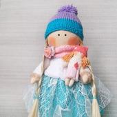Милая интерьерная кукла снежка текстильная круглоголовка