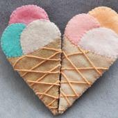 Сладкая брошь из фетра Мороженое