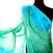 Изумрудно мятно голубой шелковый шарф ручная окраска натуральный шёлк