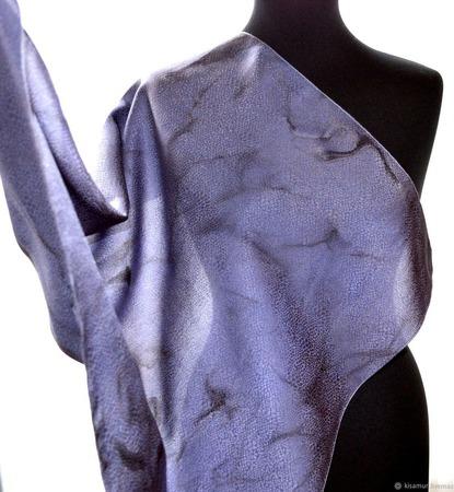 Платок шелковый ЛАВАНДА серо сине сиреневый жаккард ручной работы на заказ