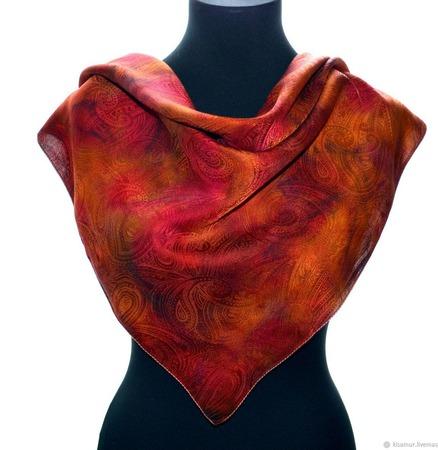 Платок шелковый жаккард пейсли красно оранжевый ручной работы на заказ
