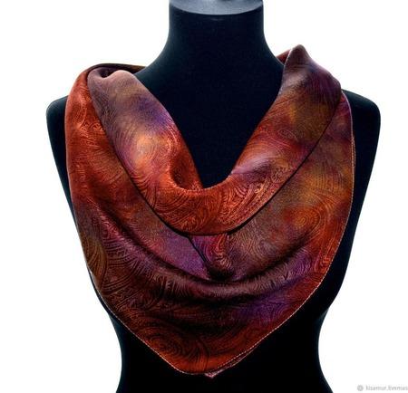 Платок шелковый жаккард пейсли красно коричневый  оранжевый  фиолет ручной работы на заказ