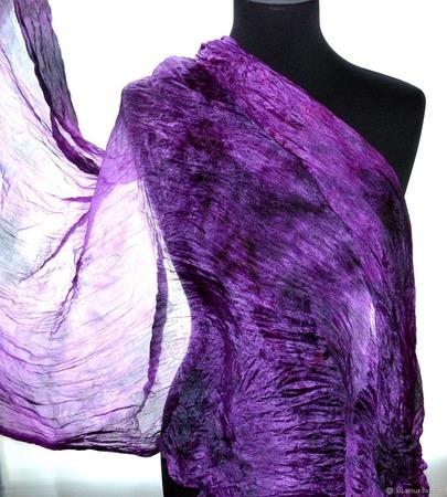 Шарф ягодно фиолетовый натуральный шелк роспись ручной работы на заказ