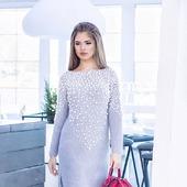 Вязаное платье с бусинами ручной вязки