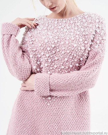 Вязаное платье с бусинами ручной вязки ручной работы на заказ