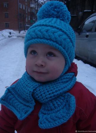 Комплект Косичка (шапочка+шарф ручной работы на заказ
