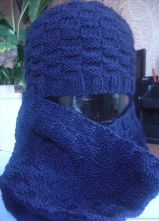 "Комплект ""Шахматы"" (шапка+шарф) ручной работы на заказ"