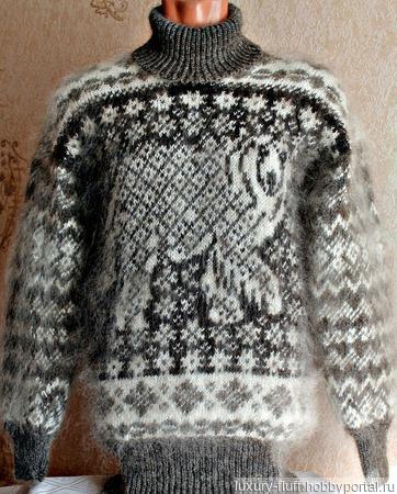 Скандинавский свитер Белый медведь. ручной работы на заказ