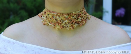 """Бархотки воротнички вязаные """"Осень золотая"""" украшение на шею ручной работы на заказ"""