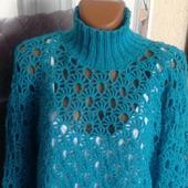 Ажурный свитер морской бриз