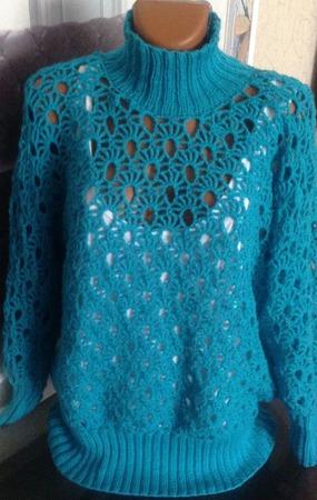Ажурный свитер морской бриз ручной работы на заказ