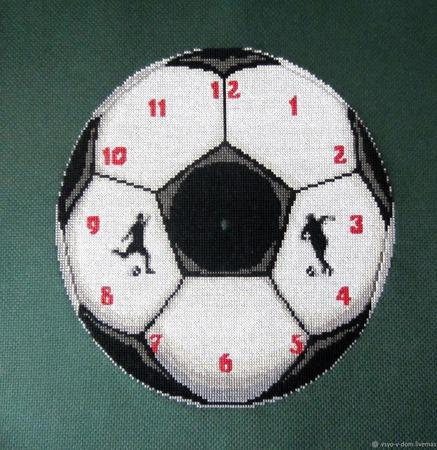 """"""" Время чемпионов"""" настенные часы с вышивкой ручной работы на заказ"""