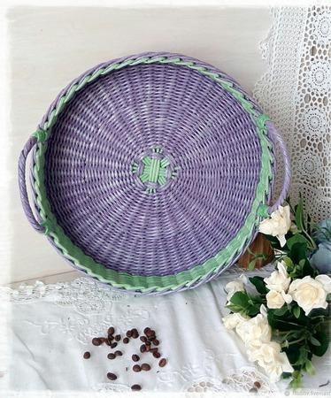 Поднос плетеный ручной работы на заказ