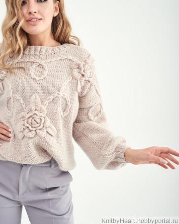 Стильный вязаный свитер с листьями ручной работы ручной работы на заказ