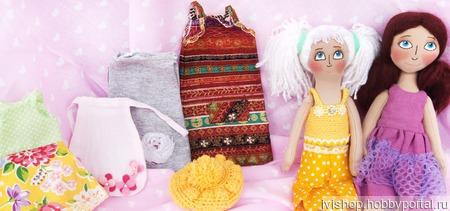 """Текстильные игровые куклы """"Сестрички"""".  Кукла со сменным гардеробом. ручной работы на заказ"""