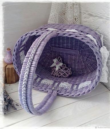 Корзина плетеная овальная ручной работы на заказ