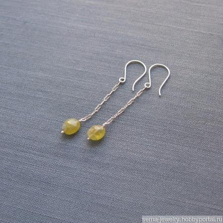 """Серьги-цепочки """"Olive"""" из серебра с гроссуляром ручной работы на заказ"""