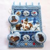 """Новогоднее текстильное панно """"Снеговик с друзьями"""""""
