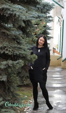Платье с меховыми карманами ручной работы на заказ