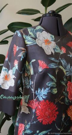 """Платье из замши """"Цветочная поляна"""" ручной работы на заказ"""