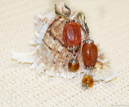 Колье и серьги Апельсиновый мармелад ручной работы на заказ