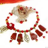 Колье и серьги Красный акцент из коралла и яшмы