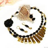 Комплект Гречанка - черный агат и золото