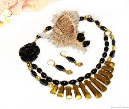 Комплект Гречанка - черный агат и золото ручной работы на заказ