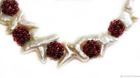 Комплект из жемчуга и родолита Малина со сливками ручной работы на заказ