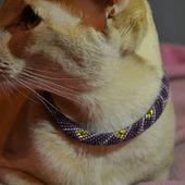 Ошейник  ЛИЛОВЫЙ из бисера , для кошки или собаки