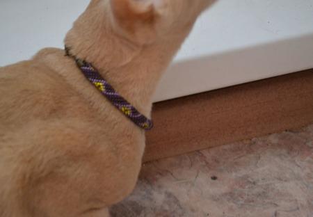 Ошейник  ЛИЛОВЫЙ из бисера , для кошки или собаки ручной работы на заказ