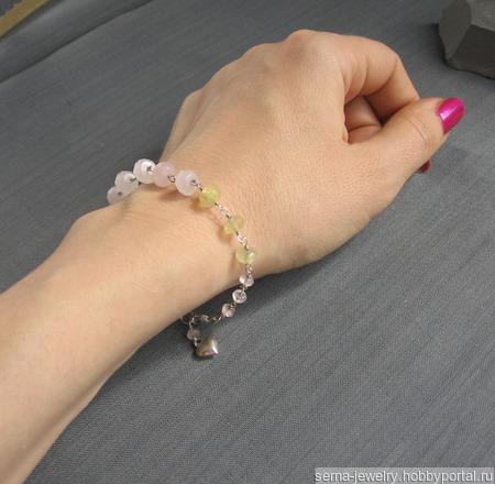 """Браслет """"Zephyr"""" из серебра с пренитом и розовым кварцем ручной работы на заказ"""
