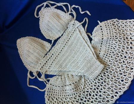 Купальник раздельный и юбочка комплект пляжный ручной работы на заказ