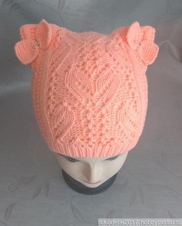 Ажурная шапочка с ушками для девочки ручной работы на заказ