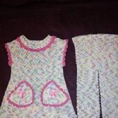 Вязаный костюм для девочки Мозаика пряжа вискоза+акрил