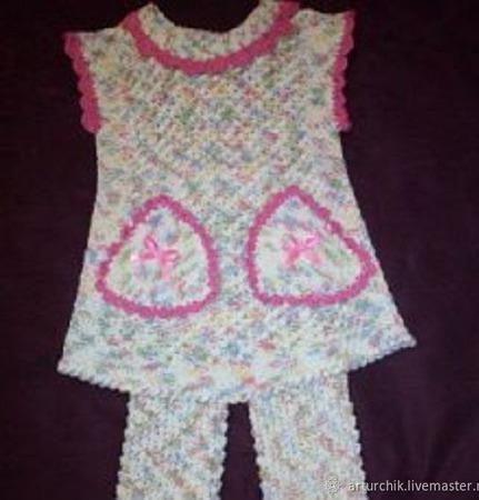 Вязаный костюм для девочки Мозаика пряжа вискоза+акрил ручной работы на заказ