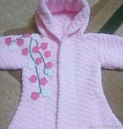 """Вязаное пальто для девочки"""" Весенний сад""""Состав: 100% микрополиэстер ручной работы на заказ"""