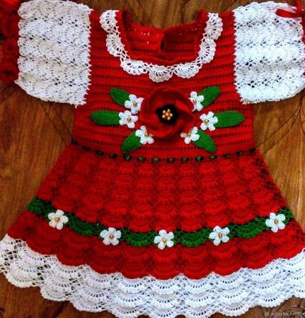 """Вязаное платье для девочки """"Цветочная поляна"""" выполнено из хлопковой п ручной работы на заказ"""