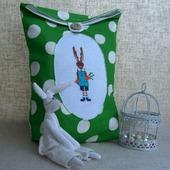Мешочек для детских принадлежностей Кролик, мешочек в подарок , мешочек  с вышивкой