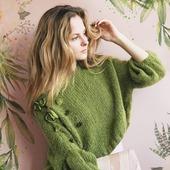Модный вязаный свитер из мохера с бусинами