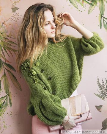 Модный вязаный свитер из мохера с бусинами ручной работы на заказ