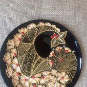 Тарелка декоративная стекло роспись