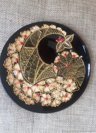 Тарелка декоративная стекло роспись ручной работы на заказ