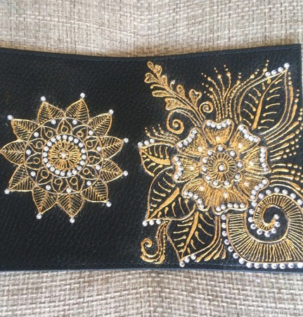 Обложка на паспорт ручная роспись натуральная кожа ручной работы на заказ