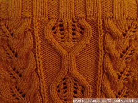 Оранжевый пуловер с рисунком ручной работы на заказ